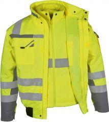 Winter-Warnschutz-Pilotenjacke 3 in 1 gelb PKA